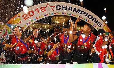 Trinbago Knight Riders celebrate winning the championship during the Hero Caribbean Premier League Final