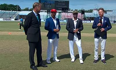 Rashid Khan and Shakib Al Hasan, and match referee Chris Broad