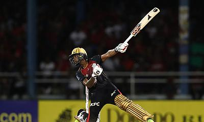 Tion Webster of Trinbago Knight Riders plays an attacking shot
