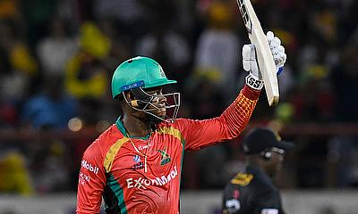 Shimron Hetmyer of Guyana Amazon Warriors celebrates his half century
