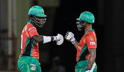 Sherfane Rutherford (L) and Nicholas Pooran (R) of Guyana Amazon Warriors partnership during match 6 of the Hero Caribbean Premier League