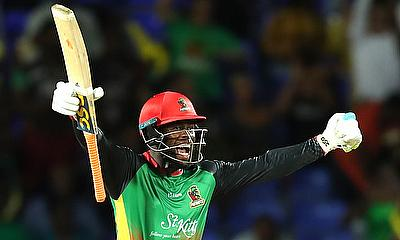 Fabian Allen of St Kitts and Nevis Patriots celebrates hitting the winning runs during the Hero Caribbean Premier League