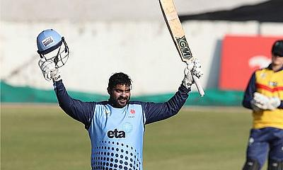 Jonathan Vandiar of Northerns celebrates his 100 runs during the 2019 Provincial T20 Cup match between Central Gauteng and Northerns at Willowmoore Pa