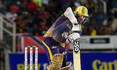Colin Munro of Trinbago Knight Riders hits 4 during match 10