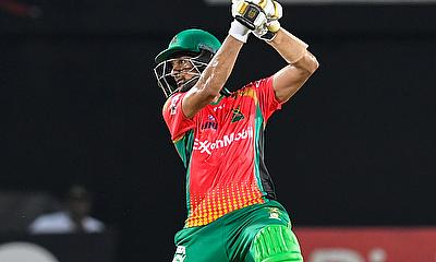 Shoaib Malik  of Guyana Amazon Warriors hits 6
