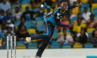 Hayden Walsh Jr. of Barbados Tridents bowling