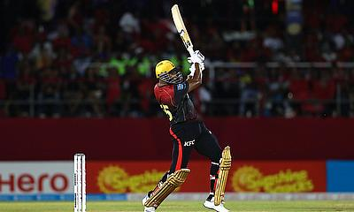 Kieron Pollard of Trinbago Knight Riders hits six