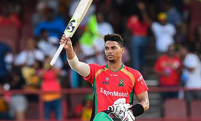 Brandon King of Guyana Amazon Warriors celebrates his century