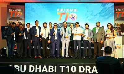 Shaji Ul Mulk, Chairman of the T10 League, and T10 franchise owners, at the Abu Dhabi T10 team draw on Tuesday evening
