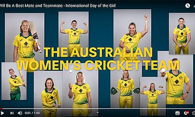 Australian Women's cricketers display their 'All Girls Crew' to celebrate International Day of the Girl