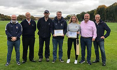 Others pictured with Gemma and Alastair : Alistair Hayes (South Region Director Rigby Taylor), Richard Myers (Cricket Director), Julian Ballinger (Cha