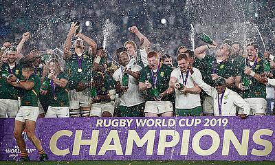 South Africa players celebrate with the Webb Ellis trophy after winning the World Cup