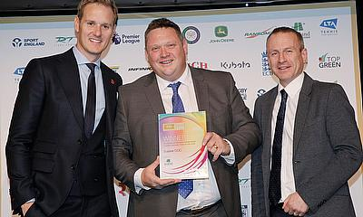 Andy Mackay (centre) Sussex CCC head groundsman collects the team award from Headland Amenity's Alex Hawkes, Technical Sales Manager, Sports Turf (rig