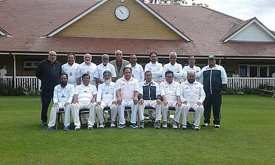 Sitting fifth from left as manager of Pakistan Super Veterans to UK (2019)