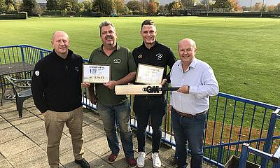 L to R - Darren Mugford (Rigby Taylor) and Dave Gadsden (Groundsman) George Davies (Broxbourne CC) and receives Cricket World Rigby Taylor 100 Club Aw