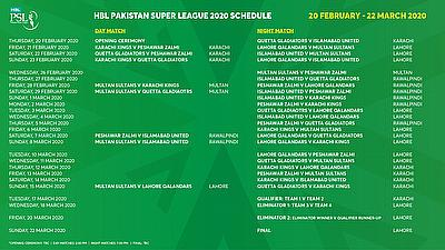 HBL Pakistan Super League announce schedule for 2020