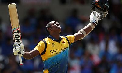 Sri Lanka's Angelo Mathews celebrates a century