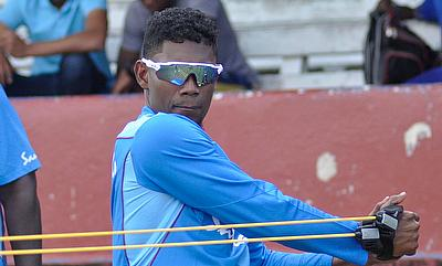 All-rounder Keemo Paul during warm-up exercises