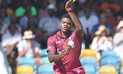 Man-of-the-Match Alzarri Joseph during his spell 4-32.