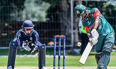 Mahmudul Hasan Joy of Bangladesh during the ICC U19 Cricket World Cup Group C match between Bangladesh and Scotland