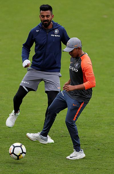 K. L. Rahul and Prithvi Shaw during nets