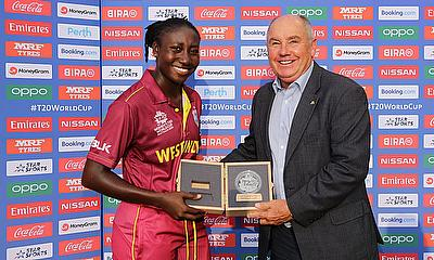 Stafanie Taylor of the West Indies poses with the Player of the Match award after the ICC Women's T20 Cricket World Cup match between the West Indies