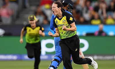Megan Schutt of Australia celebrates getting the wicket of Shafali Verma of India