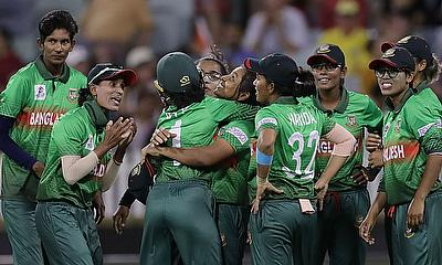 Shamima Sultana of Bangladesh celebrates after taking the wicket of Shafali Verma of India during the ICC Women's T20 Cricket World Cup match between