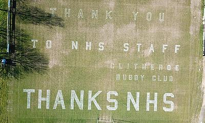Thank you, NHS message on Clitheroe's Club pitch using Rigby Taylor