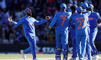 India's Virat Kohli celebrates the wicket of Afghanistan's Mujeeb Ur Rahman
