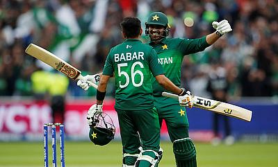 Pakistan's Babar Azam celebrates a century with Haris Sohail