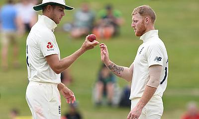 Stuart Broad with Ben Stokes during the match