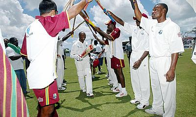 West Indies captain Brian Lara celebrates after breaking the world record