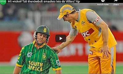 Hit wicket! Tait thunderbolt smashes into de Villiers' hip