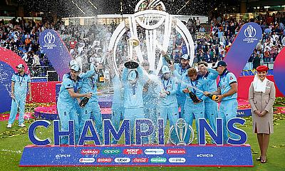 Eoin Morgan and teammates celebrate winning the World Cup