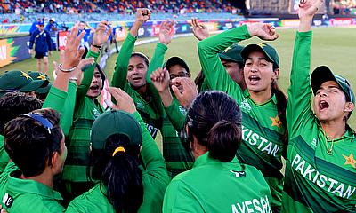 Pakistan prepare to walk on the field during the ICC Women's T20 Cricket World Cup match between England and Pakistan at Manuka Oval