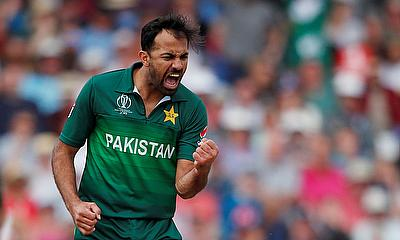 Fast Bowler Wahab Riaz speaks with media