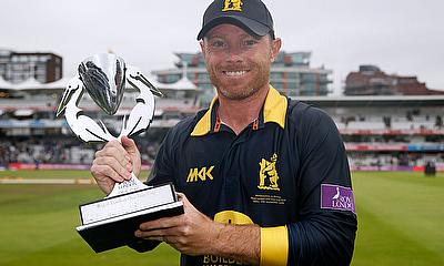 Ian Bell celebrates with the Royal London One Day Cup trophy  Lord's - 17/9/16