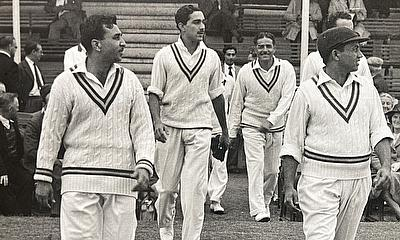 Walking in at Northampton, 1954 - second from left - alongside (Left to right), Zulfiqar Ahmed, Mohammad Aslam and Wazir Mohammad.
