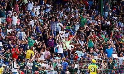 St George's Park, Port Elizabeth, South Africa February 23, 2020 South Africa fans celebrate a six