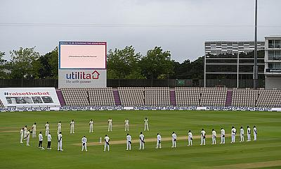 First Test - England v West Indies  a minutes silence in memory of the victims of the coronavirus disease (COVID-19) before the start of play