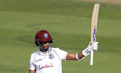 West Indies' Shane Dowrich celebrates his half century