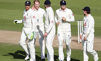 England's Ben Stokes celebrates the wicket of West Indies' Jason Holder