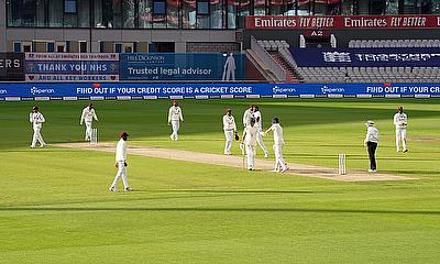 A general view as England's Ben Stokes and Dom Sibley shake hands at the end of the days play