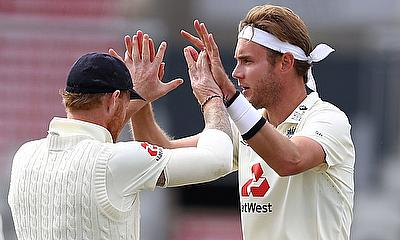 England's Stuart Broad celebrates taking the wicket of West Indies' Sharmarh Brooks for lbw with Ben Stoke