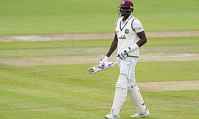 West Indies' Jason Holder walks off after losing his wicket