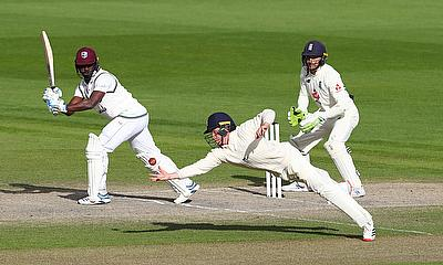 England's Ollie Pope catches out West Indies' Kemar Roach to win the test