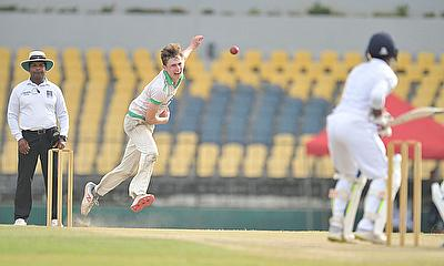 JJ Garth bowling for Ireland Wolves against Sri Lanka A, January 2019