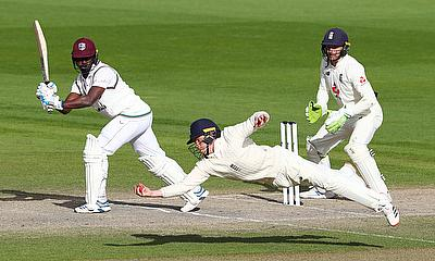 July 20, 2020 England's Ollie Pope catches out West Indies' Kemar Roach to win the test