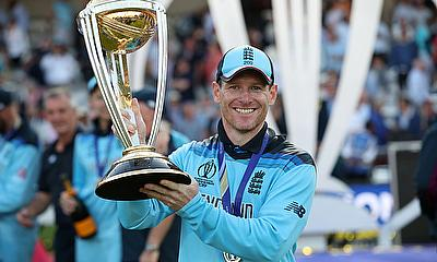 England's Eoin Morgan celebrates winning the world cup
